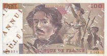 France 100 Francs Delacroix - 1990 - Serial B.143 - Cancelled Testnote - VF