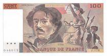 France 100 Francs Delacroix - 1990 Serial J.178 - Shift Watermark - aUNC