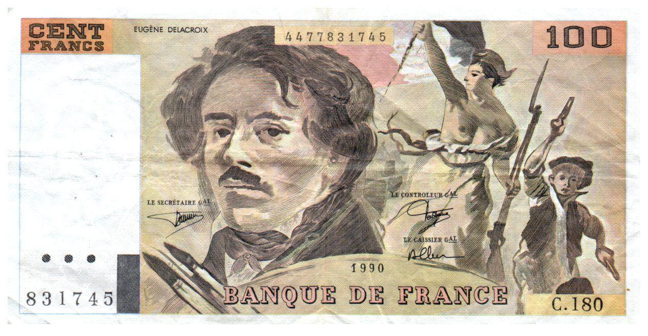 France 100 Francs Delacroix - 1990 Série C.180 - TTB