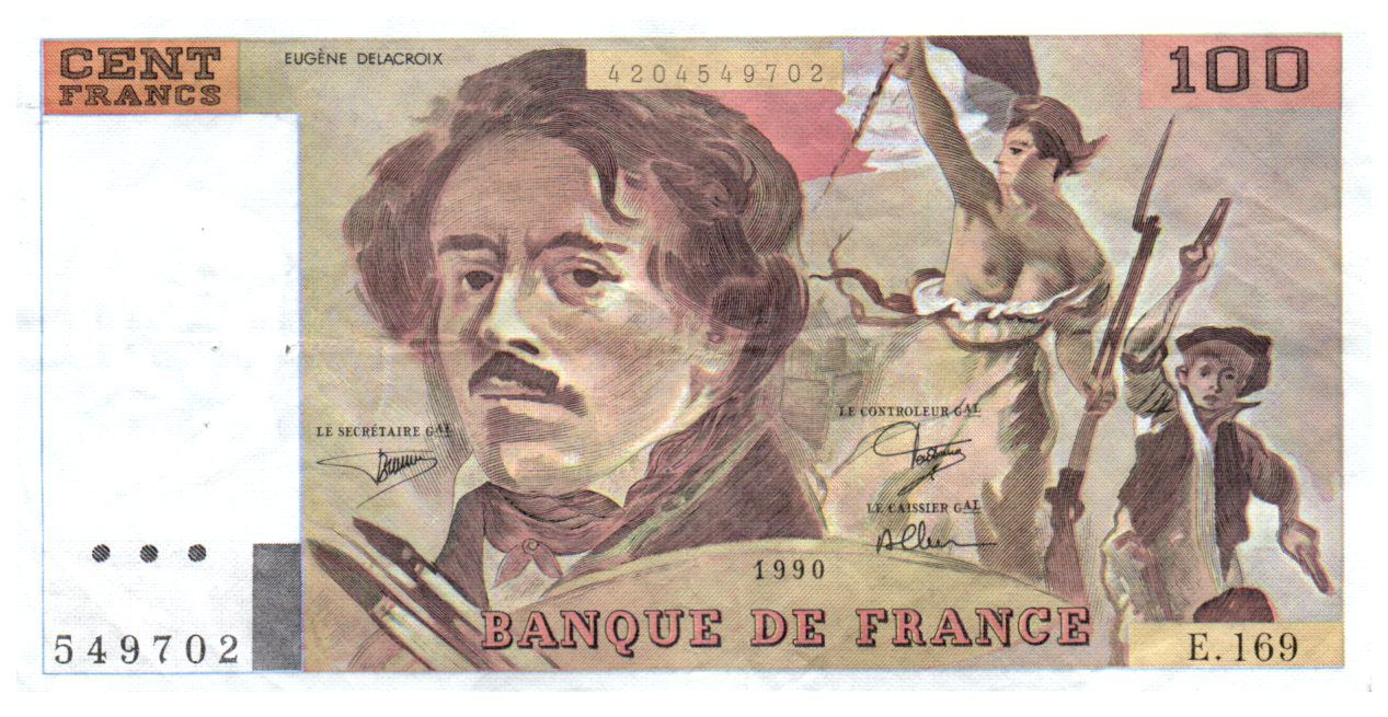 France 100 Francs Delacroix - 1990 VF