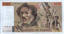 France 100 Francs Delacroix - 1991 Serial C.193 - AU