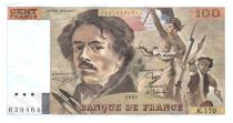 France 100 Francs Delacroix - 1991 Serial K.170 - Small watermark - VF+