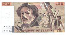 France 100 Francs Delacroix - 1991 Serial P.202 - VF