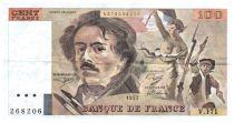 France 100 Francs Delacroix - 1991 Serial V.171 - Large watermark - VF