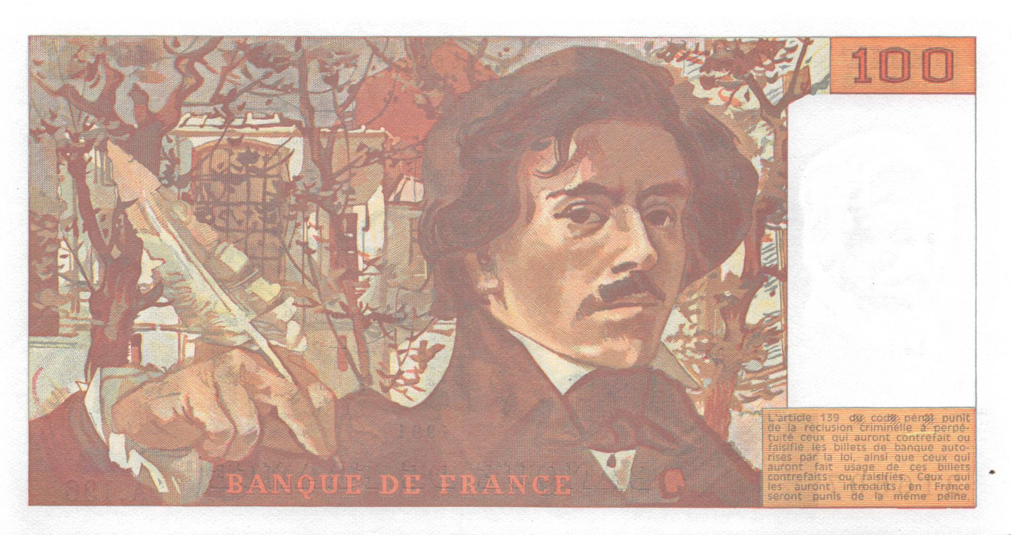 France 100 Francs Delacroix - 1991 Série A.196 - P.NEUF