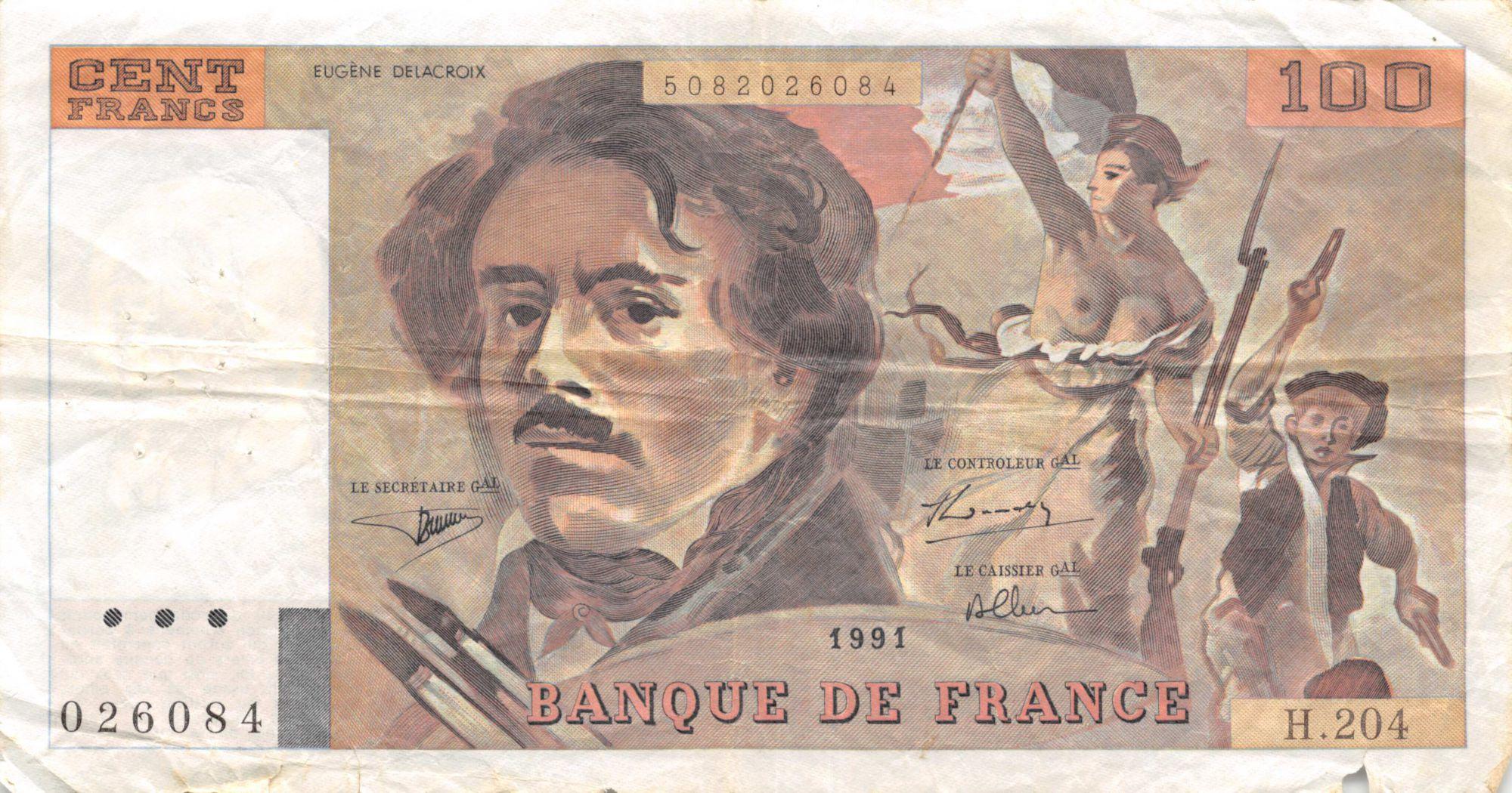 France 100 Francs Delacroix - 1991 Série H.204 - TB