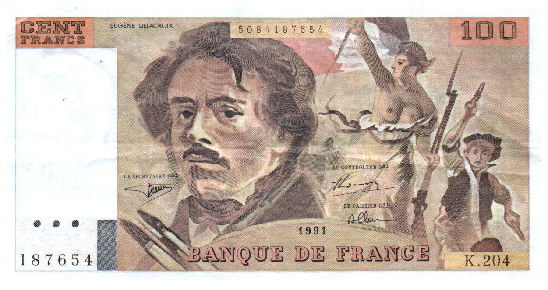 France 100 Francs Delacroix - 1991 Série K.204 - TTB