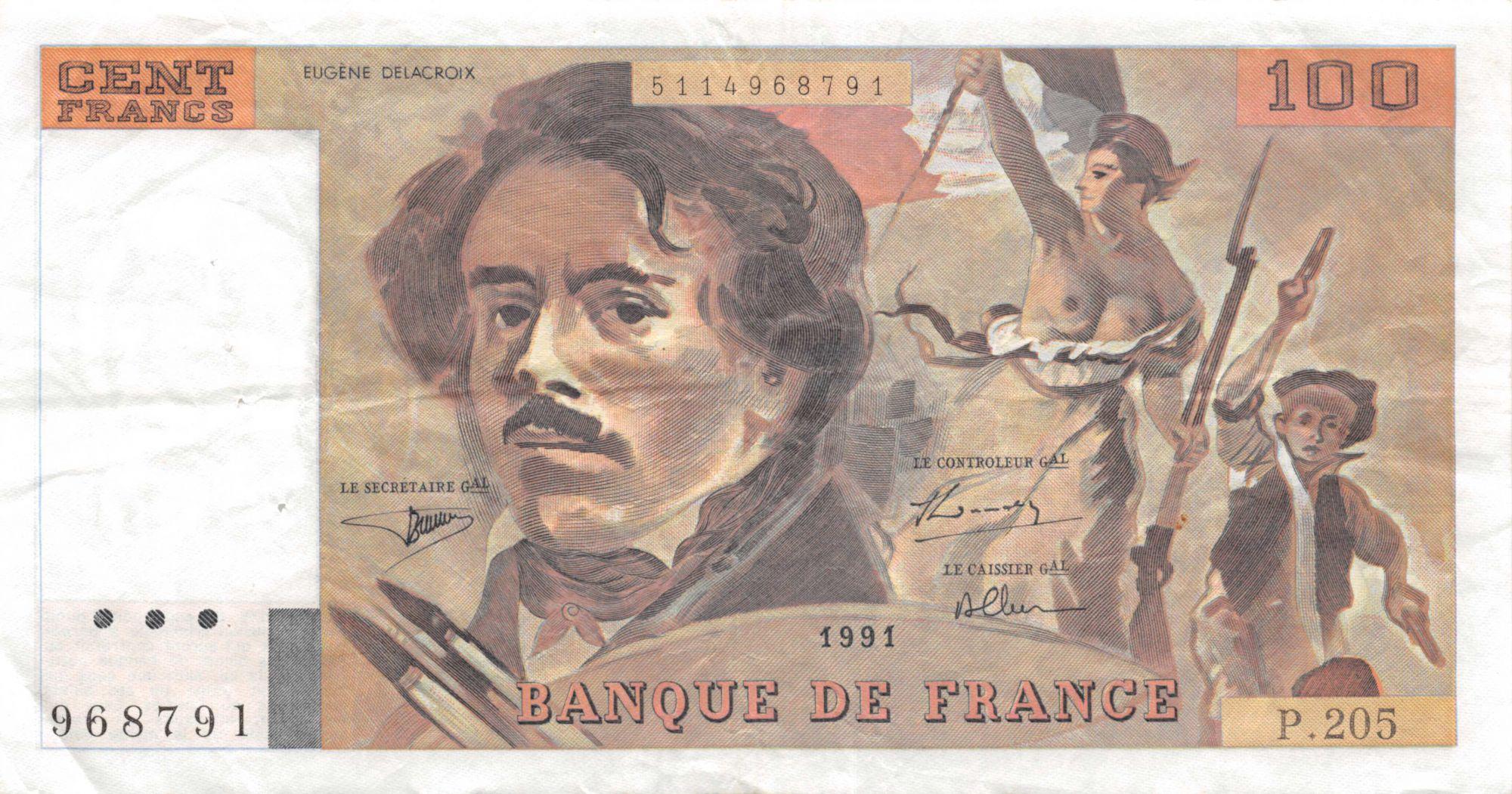 France 100 Francs Delacroix - 1991 Série P.205 - TTB
