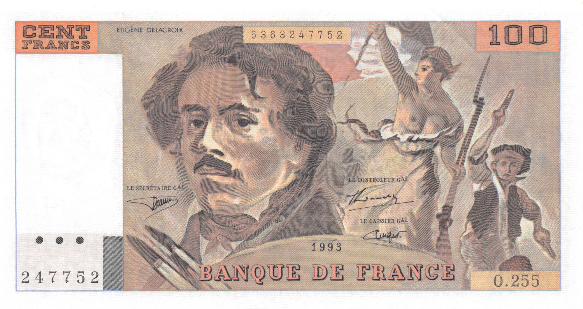 France 100 Francs Delacroix - 1993 Série O.255 - SPL