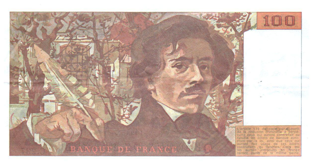 France 100 Francs Delacroix - 1993 TTB Hachuré