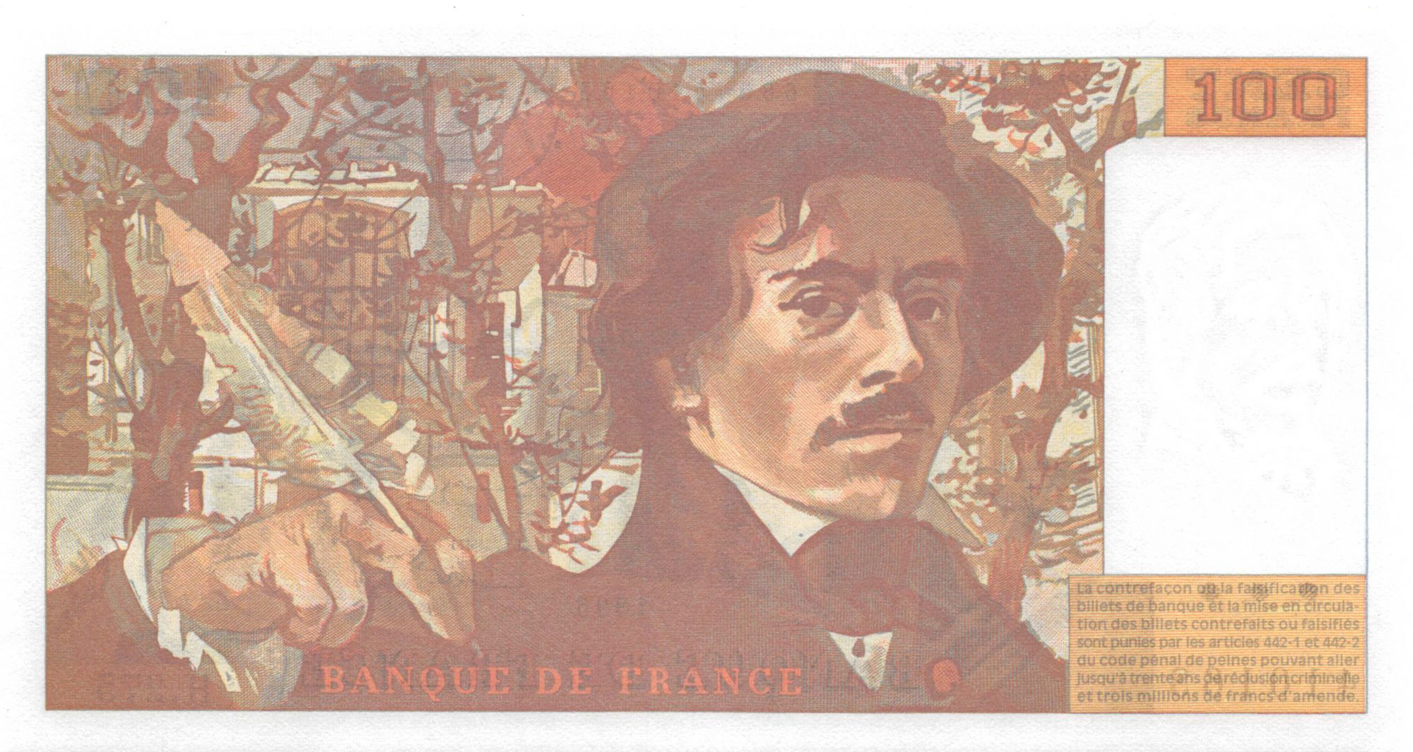 France 100 Francs Delacroix - 1995 Série H.275 - NEUF