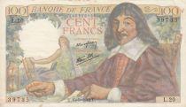 France 100 Francs Descartes - 15-05-1942 Serial L.12 - VF - P.101