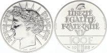 France 100 Francs Fraternité - Piefort 1988 Argent - FDC  - sans boite et sans certificat