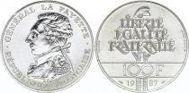 France 100 Francs Général La Fayette - 1987 - Piefort Argent - FDC - sans boite et sans certificat