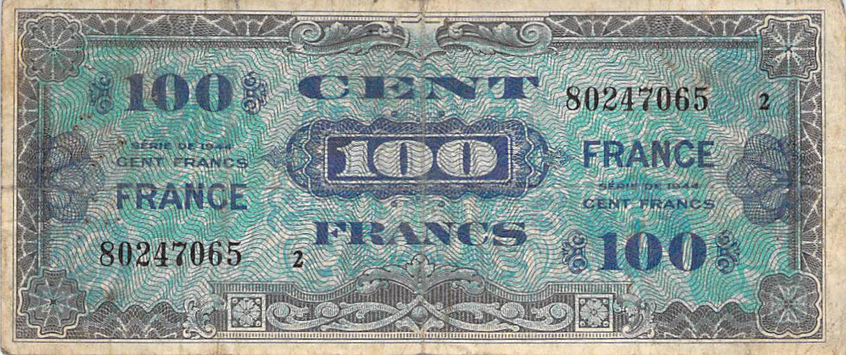 France 100 Francs Impr. américaine (France) - 1945 Série 2 - TB