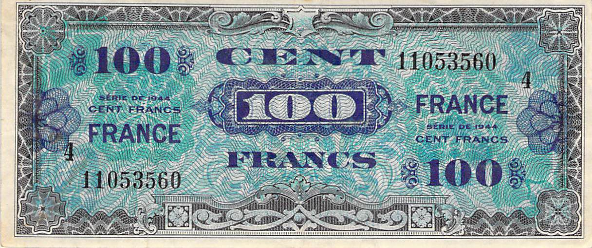 France 100 Francs Impr. américaine (France) - 1945 Série 4 - TTB
