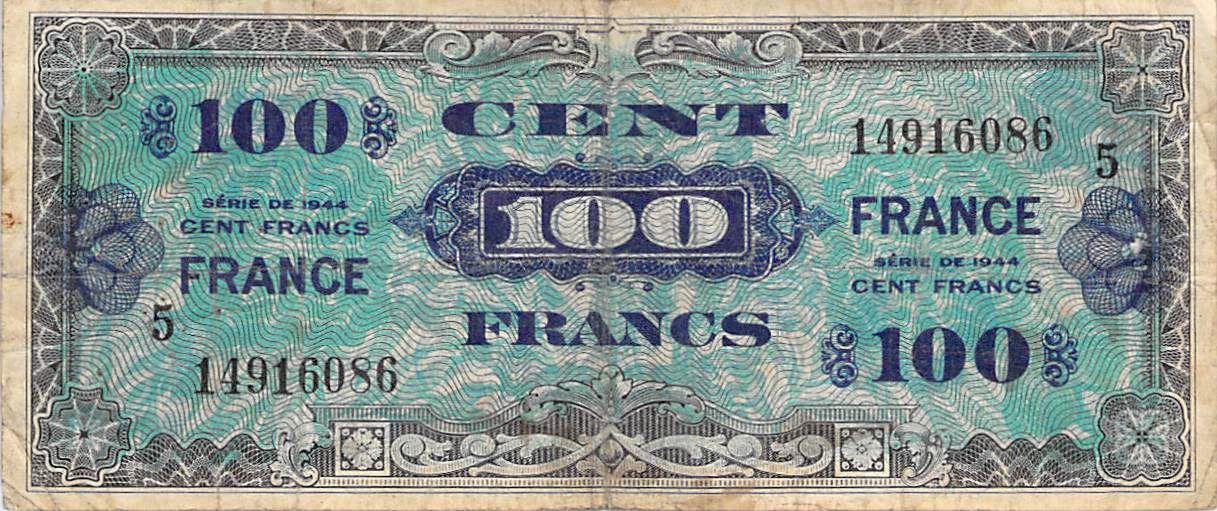 France 100 Francs Impr. américaine (France) - 1945 Série 5 - TB