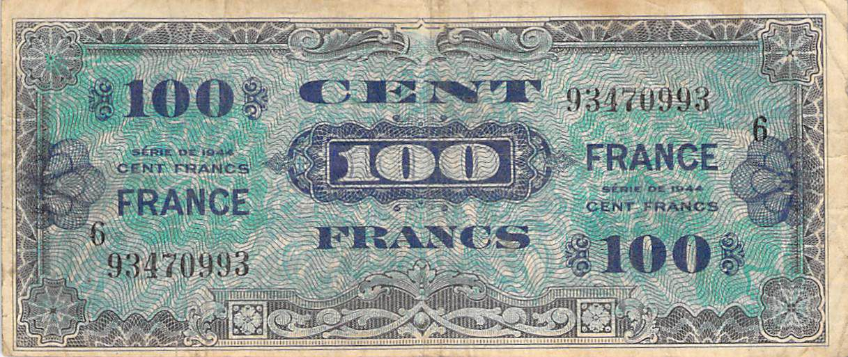 France 100 Francs Impr. américaine (France) - 1945 Série 6 - TB