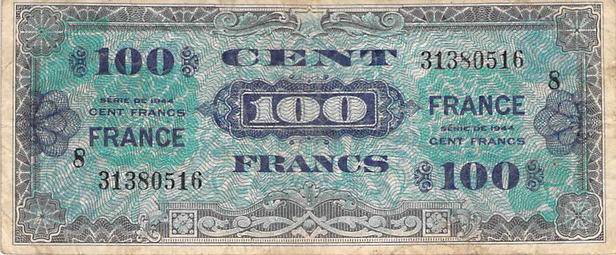 France 100 Francs Impr. américaine (France) - 1945 Série 8 - TB