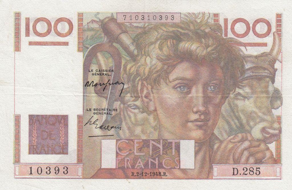 France 100 Francs Jeune Paysan - 02-12-1948 - Série D.285
