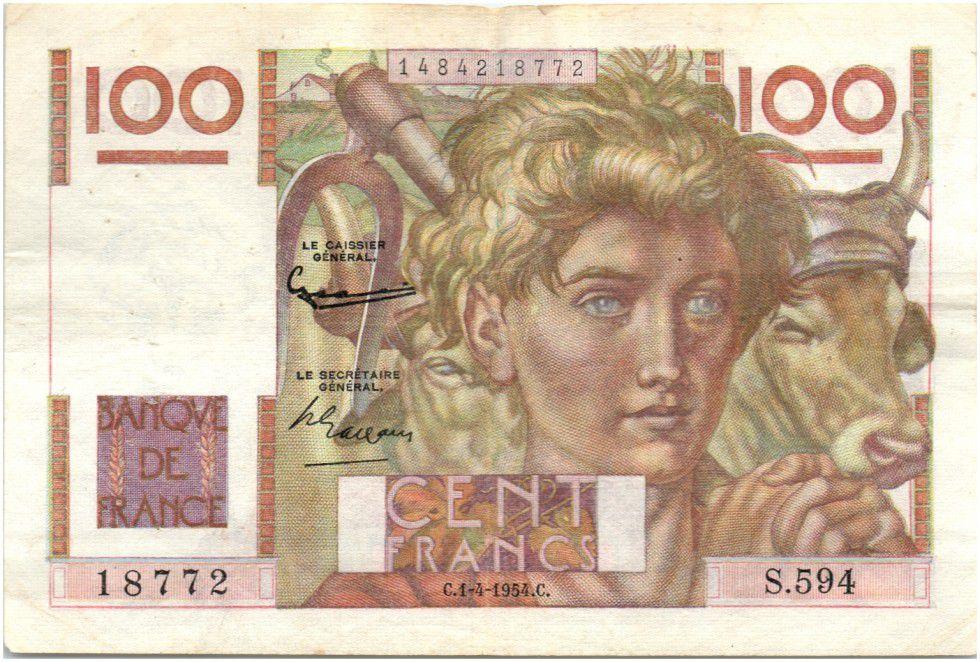 Billet France 100 Francs Jeune Paysan 1954 Filigrane Inverse