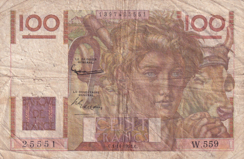 France 100 Francs Jeune Paysan - Filigrane Inversé - 01-10-1953 Série W.559 - TB