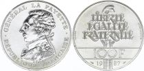 France 100 Francs La Fayette - 1987 - Piefort Silver - UNC - without boxe and certificate