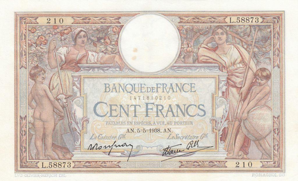 France 100 Francs Luc Olivier Merson - 05-05-1938 - Série L.58873