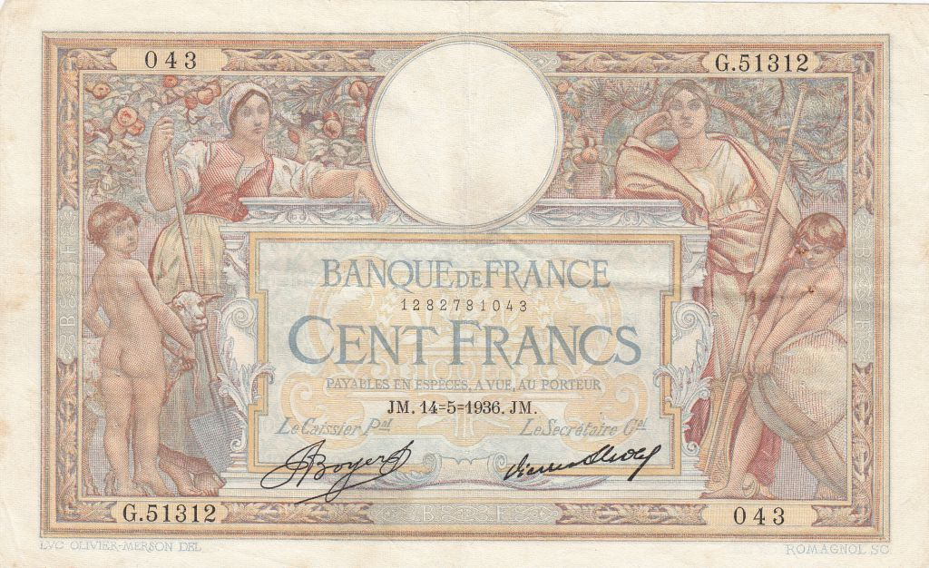 France 100 Francs Luc Olivier Merson - Grands Cartouches - 14-05-1936 Série G.51312