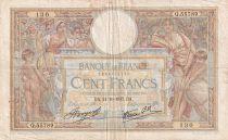 France 100 Francs Luc Olivier Merson - Grands Cartouches - 21-10-1937 - Série Q.55789 - TB