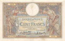 France 100 Francs Luc Olivier Merson - Grands Cartouches - 26-01-1925 Série Q.11754 - TTB