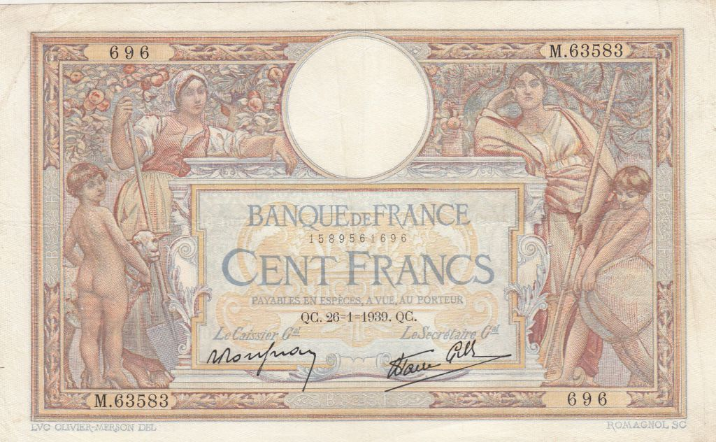 France 100 Francs Luc Olivier Merson - Grands Cartouches - 26-01-1939 Série M.63583