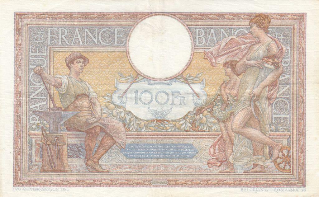 France 100 Francs Luc Olivier Merson - Grands Cartouches - 26-01-1939 Série Z.63707