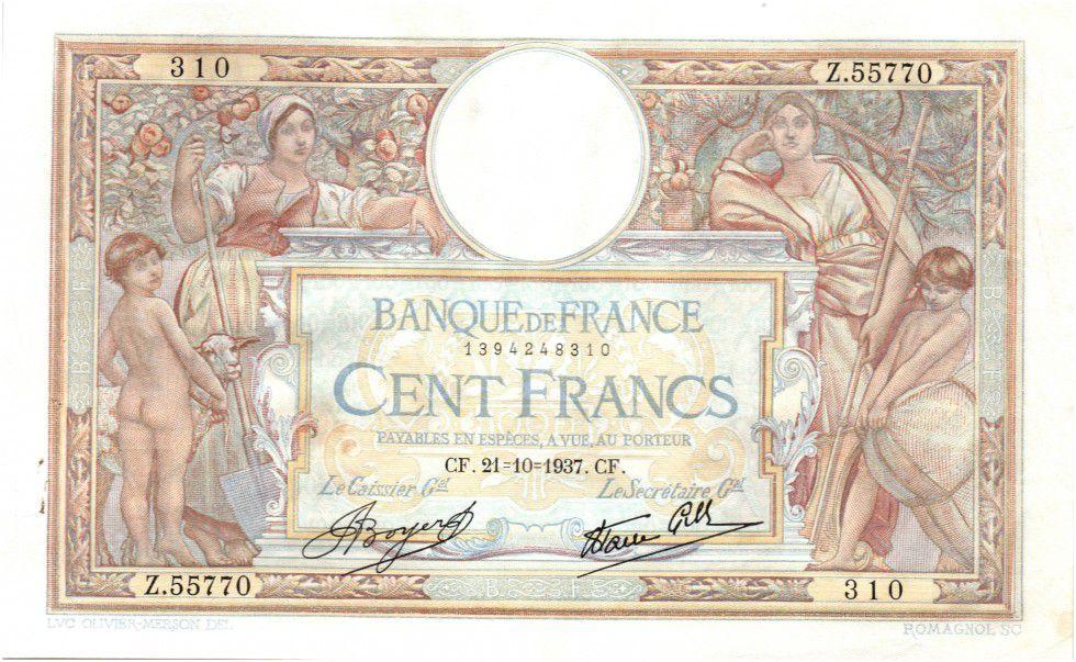 France 100 Francs Luc Olivier Merson - Modifié - 1937