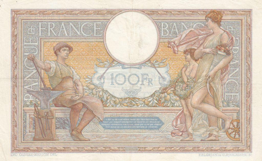 France 100 Francs Luc Olivier Merson - Modifié - 21-10-1937 Série F.55925