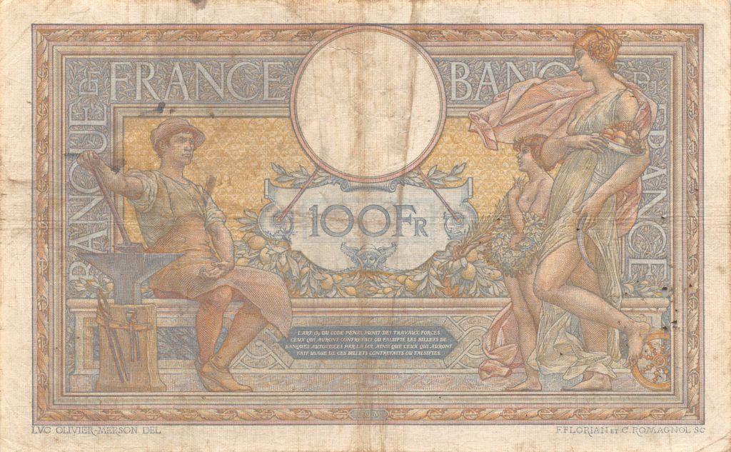France 100 Francs Luc Olivier Merson - sans LOM - 03-03-1916 Série W.3305 - TTB