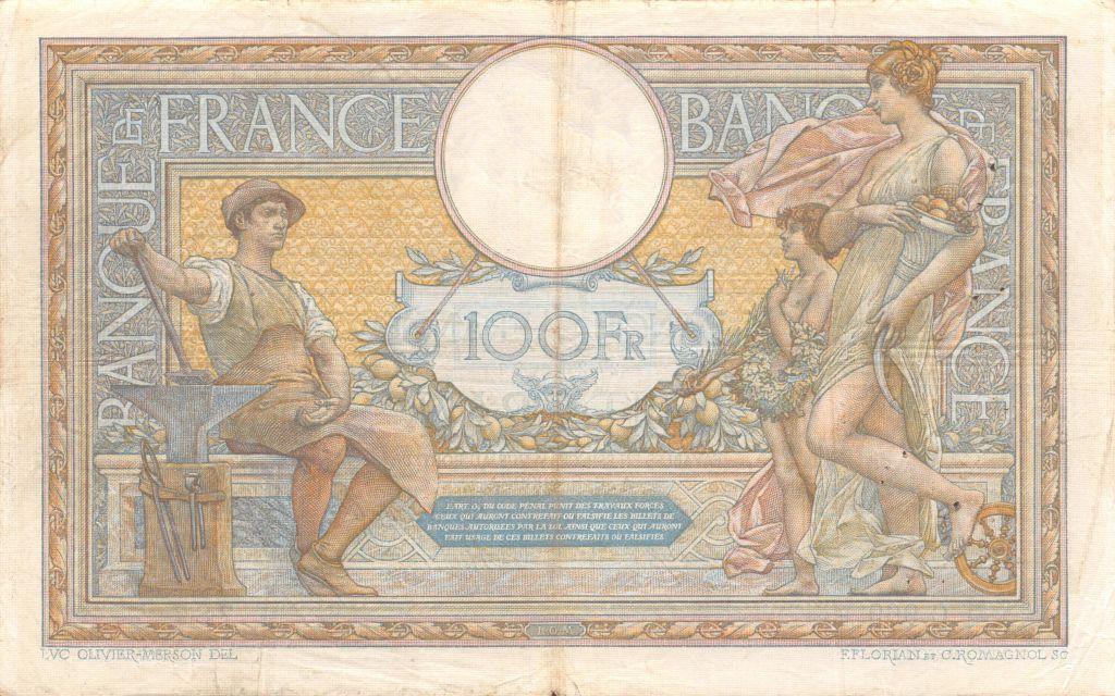 France 100 Francs Luc Olivier Merson - sans LOM - 06-08-1909 Série C.969 - TTB