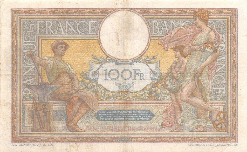 France 100 Francs Luc Olivier Merson - sans LOM - 12-03-1921 Série G.7398 - TTB