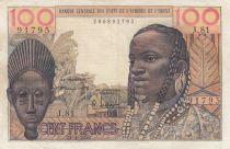 France 100 Francs mask 1959 - Serial J.81