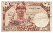France 100 Francs Mercury, French Treasury - 1955 - Serial T.1 - F+