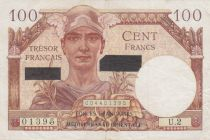 France 100 Francs Mercury, French Treasury - Suez 1956 - Serial U.2 - XF