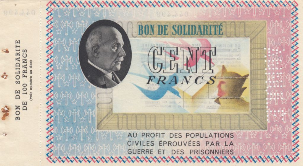 France 100 Francs Necessity note of WWII - Petain - 1941 / 1942
