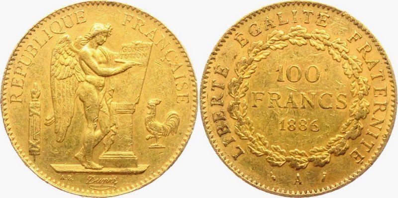 France 100 Francs Or Génie - 1886A Paris