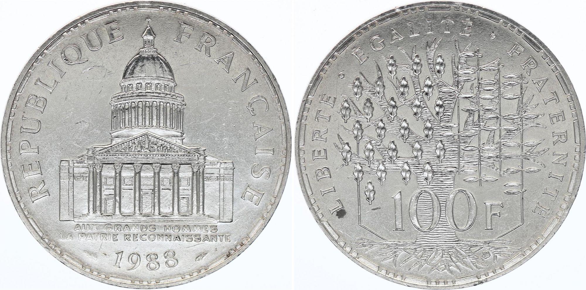 France 100 Francs Panthéon - 1988 - SPL - Argent