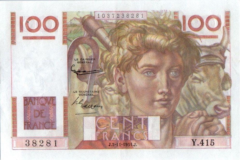 France 100 Francs Paysan - 02-11-1951 - Série Y.415