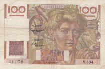 France 100 Francs Paysan - Filigrane inversé - 02-10-1952 Série V.504 - TB+