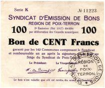 France 100 Francs Poix-Terron Commune - 1917