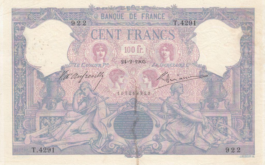 France 100 Francs Rose et Bleu - 24-02-1905 Série T.4291