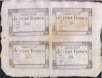 France 100 Francs Sheet of 4 x 100 F 18 Nivose An III