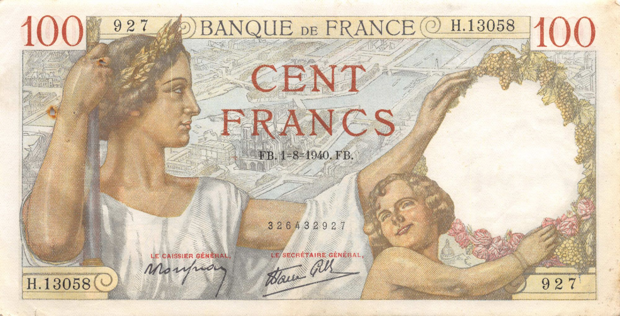 France 100 Francs Sully - 01-08-1940 Série H.13058 - TTB